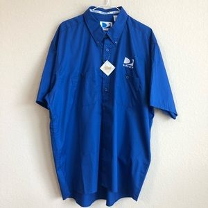 DIRECTV Blue Button Down Short Sleeve Shirt NWT